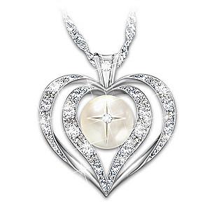 """Wisdom Of Faith"" Topaz And Diamond Pendant Necklace"
