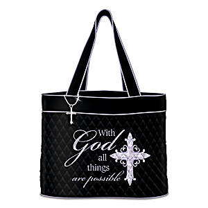 """With God All Things Are Possible"" Tote Bag With Cross Charm"