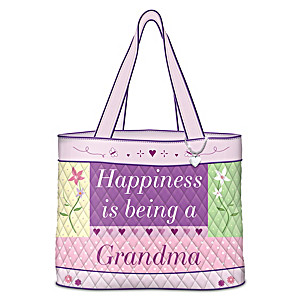 """Happiness Is Being A Grandma"" Quilted Tote With Heart Charm"