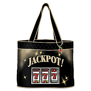 """Jackpot!"" Women's Quilted Tote Bag With Cherry Charm"