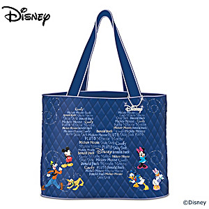 """Forever Disney Friends"" Quilted Tote Bag With Hanging Charm"