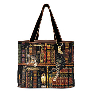 "Charles Wysocki ""Purrfect Tales"" Women's Quilted Tote Bag"