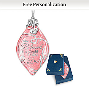 """She Believed She Could"" Personalized Ornament Lights Up"