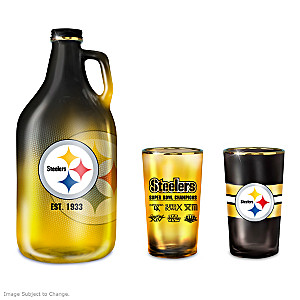 Pittsburgh Steelers Three-Piece Glass Growler Set