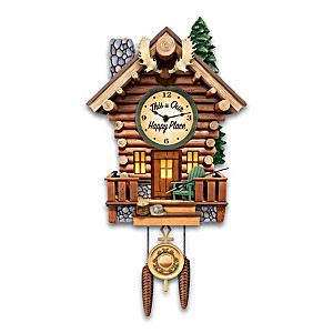 Log Cabin Illuminated Wall Clock With Wilderness Sounds