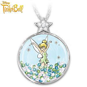 "Tinker Bell ""Pixie Dust"" Floating Crystal Pendant Necklace"