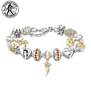 """Legend Of Elvis"" Charm Bracelet With Crystals"