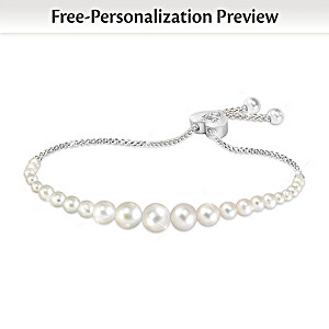 """Daughter Pearls Of Wisdom"" Personalized Diamond Bracelet"