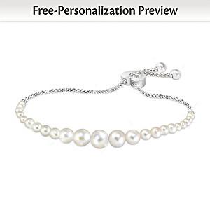 """Daughter Pearls Of Wisdom"" Personalized Diamond Bracelet"