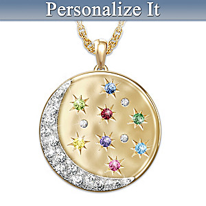 Moon and Stars Personalized Family Birthstone Necklace