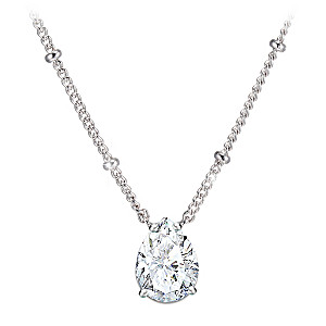 Solid Sterling Silver Simulated Diamond Pendant Necklace