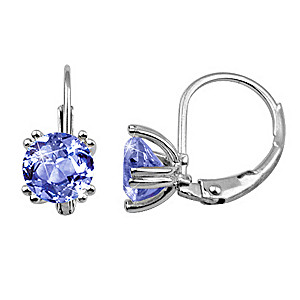 Solid Sterling Silver Simulated Tanzanite Earrings