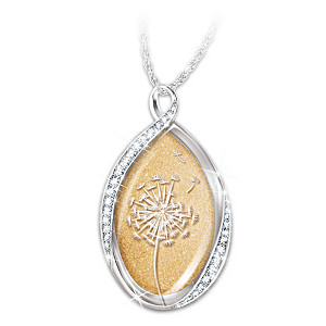 Etched Dandelion Pendant Necklace With Crystals For Daughter