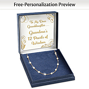 Cultured Pearl Necklace Personalized For Granddaughter