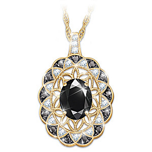 """Italian Lace"" Black Spinel And Diamond Pendant Necklace"