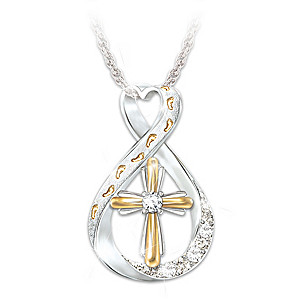 """""""Footprints In The Sand"""" Diamond Infinity Pendant Necklace"""