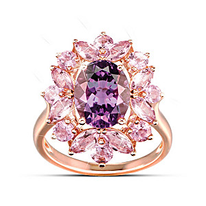Statement Ring With Over 4 Carats Of Genuine Amethyst