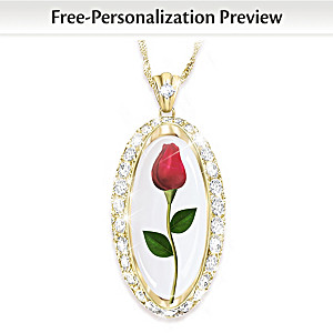 Personalized Preserved Rose Necklace With Swarovski Crystals