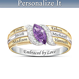 Family Ring With Engraved Names And Crystal Birthstone