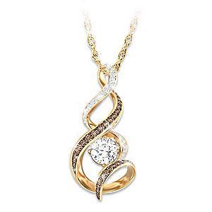 Mocha & White Diamond Necklace With 1-Carat Topaz Gemstone