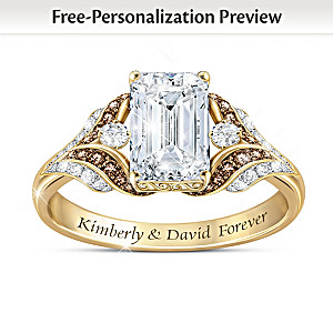 Mocha Diamond And White Topaz Ring Personalized With 2 Names