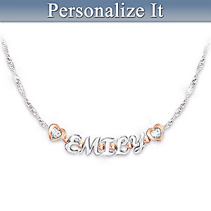 Personalized Granddaughter Name Necklace With Custom Poem