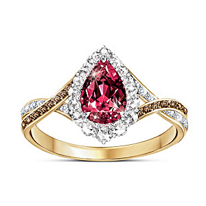 """Sweet Luxuries"" Strawberry Topaz And Diamond Women's Ring"