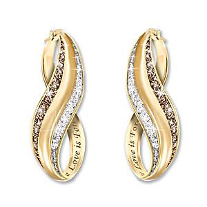 """The Perfect Blend"" Mocha & White Diamond Earrings"