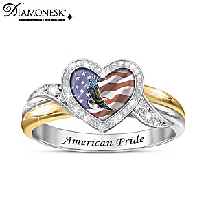 """American Pride"" Diamonesk Ring With Eagle And Flag Art"