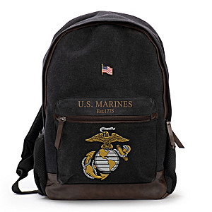 USMC Canvas Backpack With Free American Flag Pin