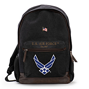 USAF Canvas Backpack With Free American Flag Pin