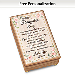 """To My Daughter"" Personalized Wooden Music Box"