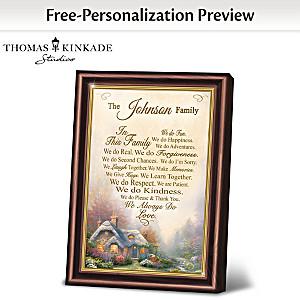 """Thomas Kinkade """"Family Rules"""" Personalized Framed Poem"""