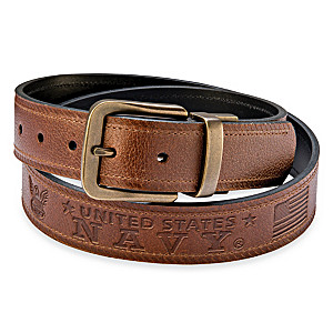 U.S. Navy Pride Men's 2-In-1 Reversible Leather Belt