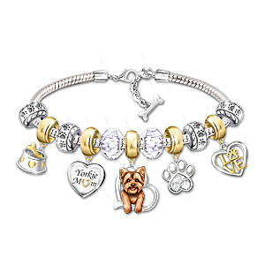 """Yorkie Mom"" Charm Bracelet With 11 Individual Charms"