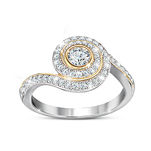 Genuine Gemstone Ring With White Sapphires