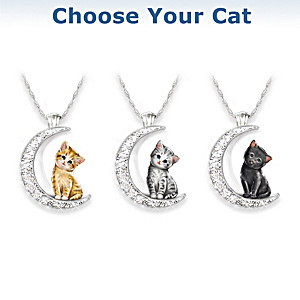 Cat And Crystal Moon Pendant Necklace: Choose Your Cat