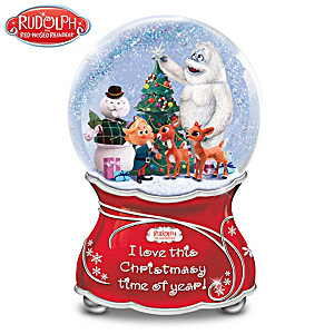 Rudolph The Red-Nosed Reindeer Musical Glitter Globe