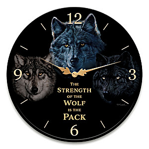 "Vivi Crandall ""Strength Of The Pack"" Wolf Art Wall Clock"