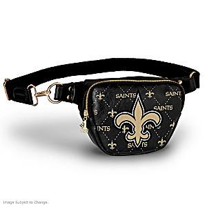 Saints Belt Bag With #1 Fan Charm & Adjustable Strap