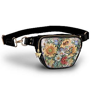 "Lena Liu ""Sunflower Splendor"" Belt Bag With Butterfly Charm"
