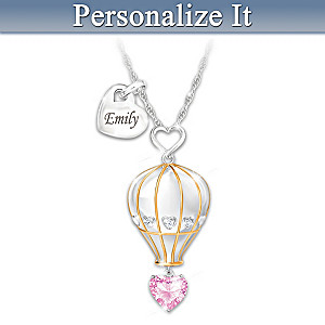 Personalized Crystal Birthstone Necklace For Granddaughters