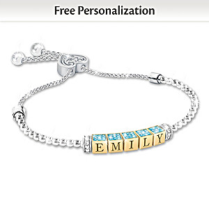 Birthstone Bracelet For Granddaughters With Name And Traits