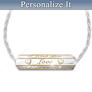 """""""Wishes For My Daughter"""" Rolling Diamond Pendant Necklace"""