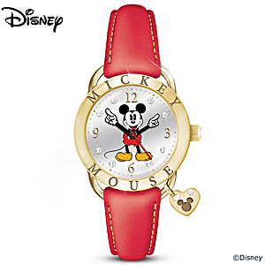 Mickey Mouse Watch With Leather Strap And Crystal Accents