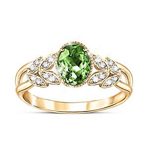 """""""Splendor Of Nature"""" 1-Carat Helenite Ring With White Topaz"""