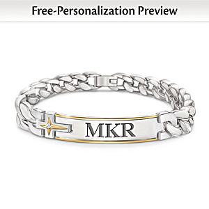 """Strength Of Faith"" Personalized Link Bracelet For Grandson"