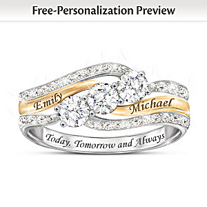 Personalized Diamond Couples Ring With 1.5+ Carats Of Topaz