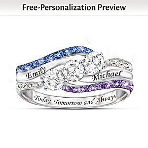 """""""Today, Tomorrow And Always"""" Personalized Birthstone Ring"""