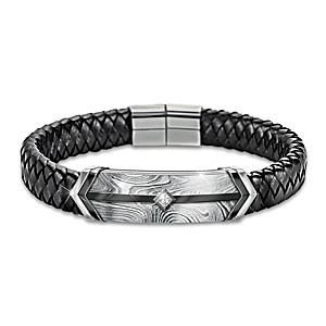 Leather And Damascus Steel Bracelet With Sapphire For Son